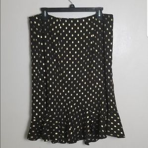 Who What Wear Polka Dot Trumpet Midi Skirt